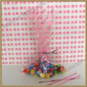"""100pcs 13cm x20cm """"Polka Dot Pink"""" Gift Cello Bag + Twist Ties"""