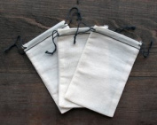 Cotton Muslin Bags 8.3cm x 13cm Black Hem and Black Double Drawstring 100 Count Pack