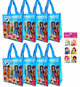 8-pack Tinkerbell and Disney Fairies Tote Bags (38cm x36cm x15cm Woven Reusable) AND a Rare 4-sheet Disney Princess Stickers Set (7.6cm x15cm ) ---- Tinkerbell Party Supplies and Favours for Kids