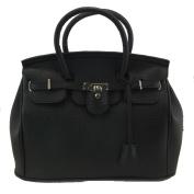 THG Elegant Fashion PU Faux Leather Safety Padlock Designer Inspired Shopper Hobo Black Tote Bag Handbag
