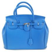 THG Elegant Fashion PU Faux Leather Safety Padlock Designer Inspired Shopper Hobo Blue Tote Bag Handbag
