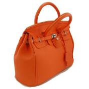 THG Elegant Fashion PU Faux Leather Safety Padlock Designer Inspired Shopper Hobo Orange Tote Bag Handbag