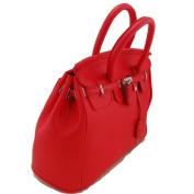 THG Elegant Fashion PU Faux Leather Safety Padlock Designer Inspired Shopper Hobo Red Tote Bag Handbag