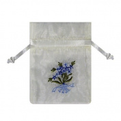 IVORY Forget Me Not Blue Floral Embroidered Bag Bridal Shower Satin Favour Pouch 12PK