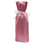 Gift Mate 21071-5 5-Piece Wine/Bottle Drawstring Gift Bags, Pink Polka Dot