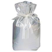 Gift Mate 21085-6 6-Piece Drawstring Gift Bags, Medium, Diamond Silver