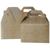 4 x 8 x 5 1/4 Medium Gold with Kraft Design Gable Box - Sold individually