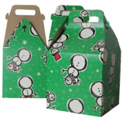 8 x 7 1/4 x 8 Large Green Snowman Design Gable Box - Sold individually