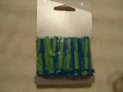 American Greetings Blue & Green thin plastic shredded fringe ribbon - 5.1cm x 90cm