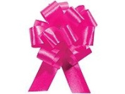 HOT PINK Pull String Bows - 14cm Wide 20 Loops (1 & 2.2cm ribbon) Set of 10