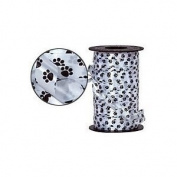 Black and White Paw Print Curling Ribbon