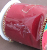 Santa's Trim Shoppe WIRED EDGES 'VELVETEEN' RIBBON 6.4cm Wide x 9 FEET Long DARK RED w GOLD Tone EDGES