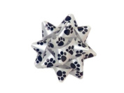 Paw Print 6.4cm Poly Star Gift Bows - 50 Per Package.