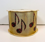 """Craft & Floral Ribbon,high Note Gold Lame',red Plaid Music Notes,2 3/4"""" X 70mm/20 Yards"""