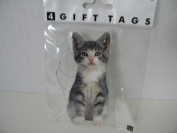 Grey White Kitty Cat Cut Out Die Cut Gift Taps