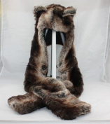 7.6cm 1 Function Brown Wolf Faux Fur Full Animal Hood Hat Winter Warmer Cap New