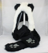 Panda Animal Hood Faux Fur Hat with Warm Scarf Mittens Ears and Paws Spirit