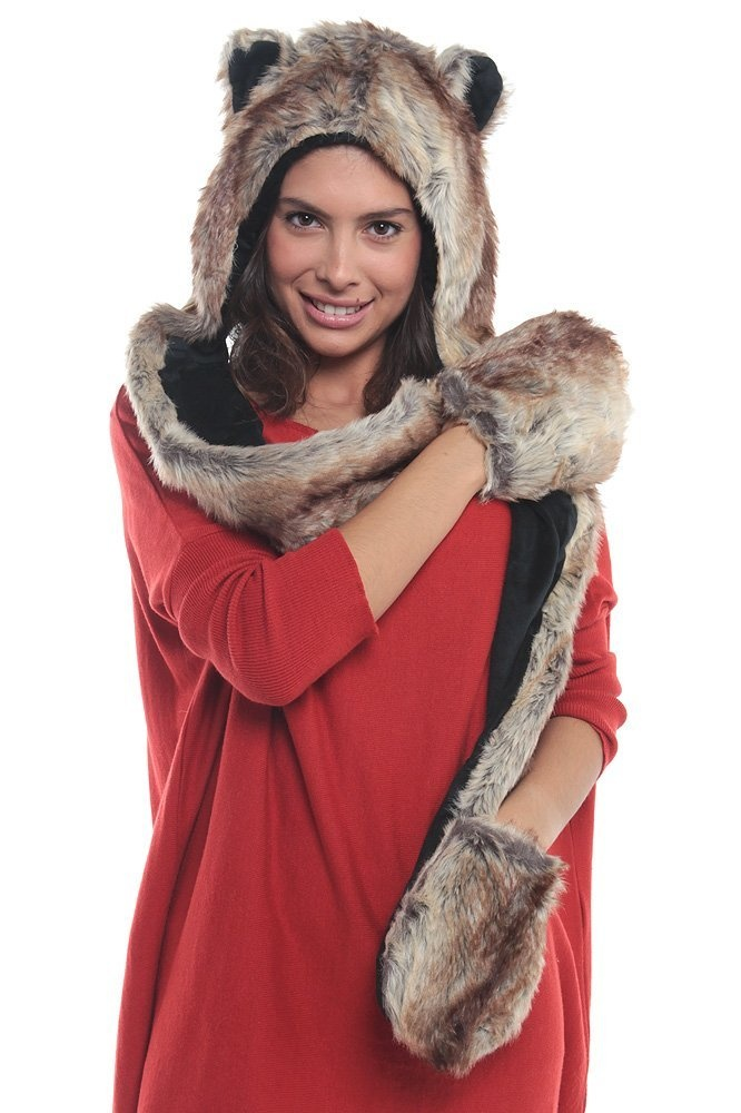 Trendy Wolf Hood Faux Fur Hat with Scarf Mittens Ears and Paws ... 446344a3639