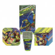 TMNT Teenage Mutant Ninja Turtles Party Supplies Pack Including Plates, Cups, Napkins and Tablecover - 8 Guests