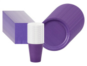 Perfect Purple Paper Party Supplies Pack Including Plates, Cups, and Napkins- 48 Guests