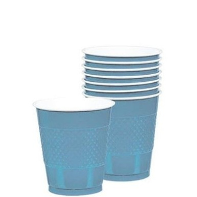 Powder Blue Plastic Drinking Cups 270ml 20 Ct. Cocktail Size Wash and Reuse