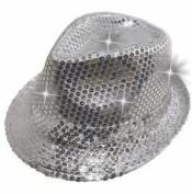 LED Sequin Fedora Hat - Light-up Hat - Silver