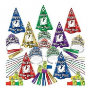 ASSORTED Colours -Midnight Countdown - Deluxe New Year's Party Kit for 25 People