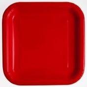 Square Plates 18cm 16/Pkg-Ruby Red
