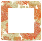 Entertaining with Caspari Sea Fans Paper Square Dinner Plates, Coral, Pack of 8