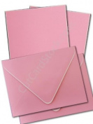 Hand-bordered Pop Tone Cotton Candy with White Border Announcement Cards