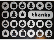 """Metallic Silver Presents/Christmas Trees/Ornaments """"Thanks"""" Note Cards w/ Envelopes"""