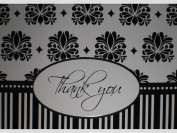Black/White/Silver Damask Stripes Thank You Note Cards w/ Envelopes