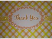 Yellow Orange Glittered Thank You (Stripes) Note Cards w/ Envelopes