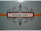 Blue Pink Metallic Silver Scroll Thank You Note Cards w/ Envelopes