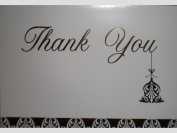 """Metallic Gold Bell Ornament """"Thank You"""" Note Cards w/ Envelopes"""