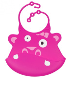 Silly Bibs soft silicone baby and toddler bib with crumb catcher - Hannah Hippo