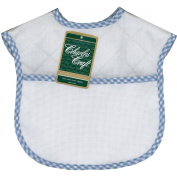 """Quilted Baby Bibs 23cm X9""""-White With Blue Gingham Trim"""