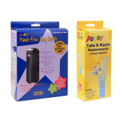 Combo Podee Baby Bottle - Double Pack Complete Handsfree Feeding System + Tube and Nipple Replacements