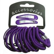 22 Piece Hair Elastics With 2 Sleepies Hair Clips Choice Of Colours