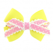 Children's hair clip bright yellow and pink bow, includes 1 hair clip, suitable for all ages
