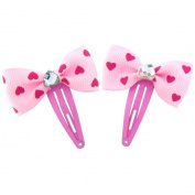 Children's cute Pink heart hair clips, set includes 2 pieces