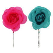 Kids flower hair clips, this set includes 1 pink and 1 green flower hair accessory