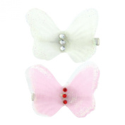 Girls layered sparkly butterfly hair clips, children's hair accessories includes 1 white and 1 pink beautiful butterfly