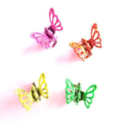 4 Girls Neon Pink Green Yellow Orange Butterfly Mini Hair Clamps IN4356