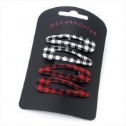 4 White & Red Fabric Cheque Hair Slides AJ22549