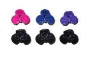 2 Hot Pink & Black Bow Plastic Mini Hair Clamps EA6984