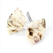 Cream Floral Lace Bow Hair Barrette/Clip AJ21413