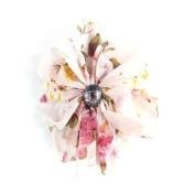 Pink Chiffon floral Fabric Flower Beak Clip/Pin IN9363