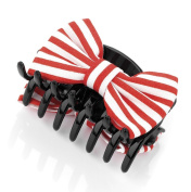 Red & White Candy Stripe Bow Small Hair Clamp AJ24224