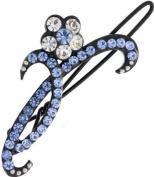 Ebuni Pretty Blue Crystal Flower Hair Clip / Hair Accessory / Ladies